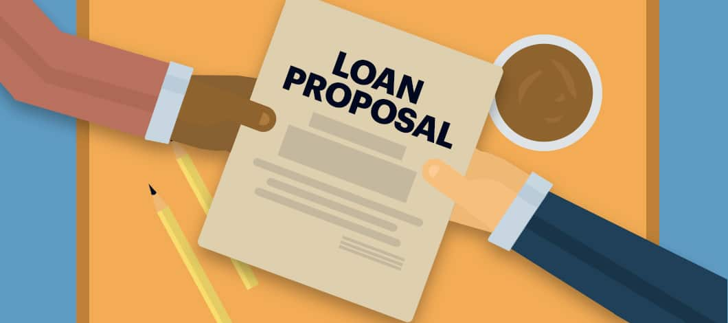 """Across an office desk, one hand extends a document labeled """"Loan Proposal"""" to another hand."""