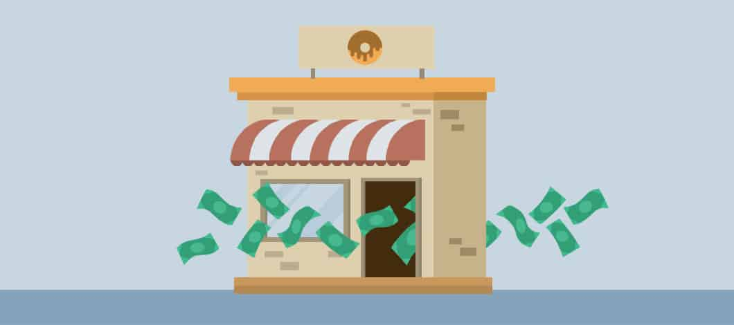 A bunch of dollar bills flow in and out of a small doughnut shop.