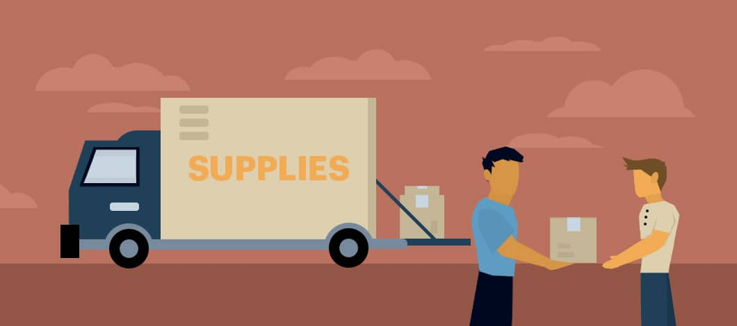 """A vendor hands a box of goods to a small shop owner. A cargo truck labeled """"Supplies"""" is in the background."""