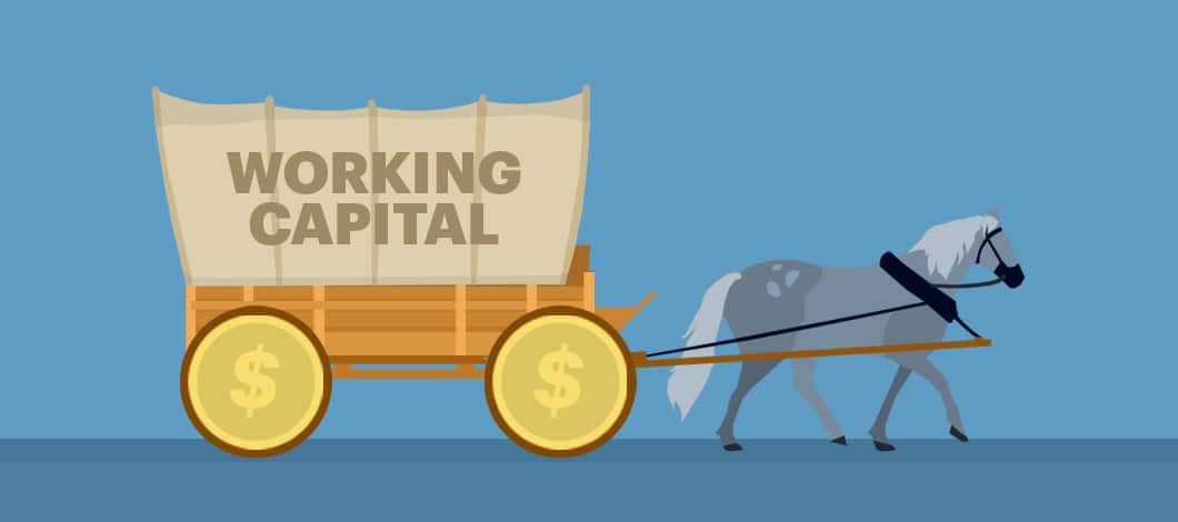 """Two horses pull a wagon with dollar coins for wheels. The cover of the wagon reads """"Working Capital."""""""