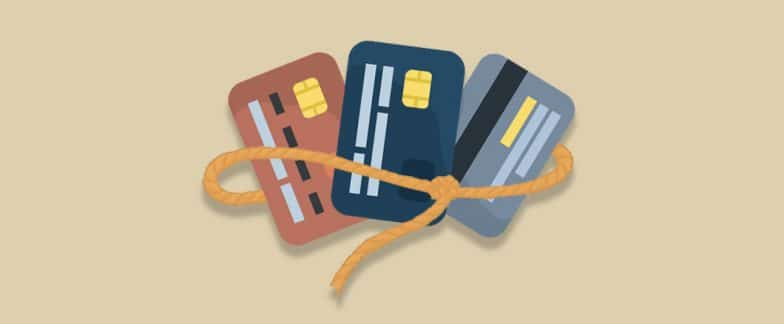 A bunch of credit cards are captured in a lasso.