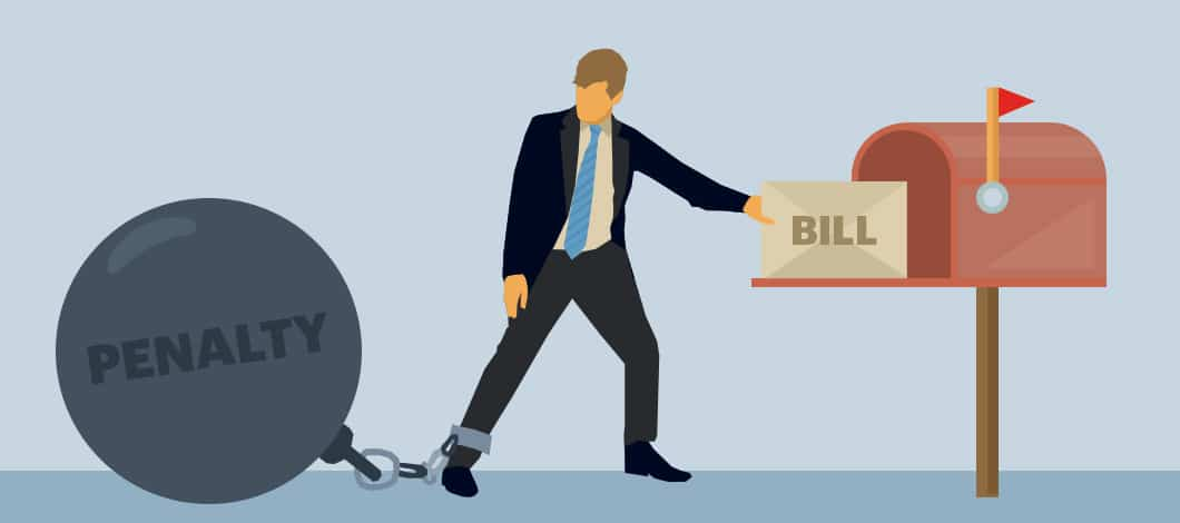 """A man is about to put a letter labeled """"Bill"""" into a mailbox. One of his legs is chained to a metal ball labeled """"Penalty."""""""