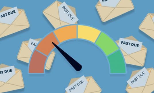 """""""Past Due"""" envelopes rain down behind a credit score meter, which is in the """"poor"""" to """"bad"""" range."""