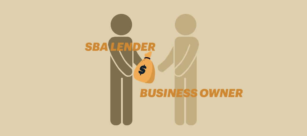 """A figure labeled """"SBA Lender"""" hands a sack of cash to another figure labeled """"Business Owner."""""""