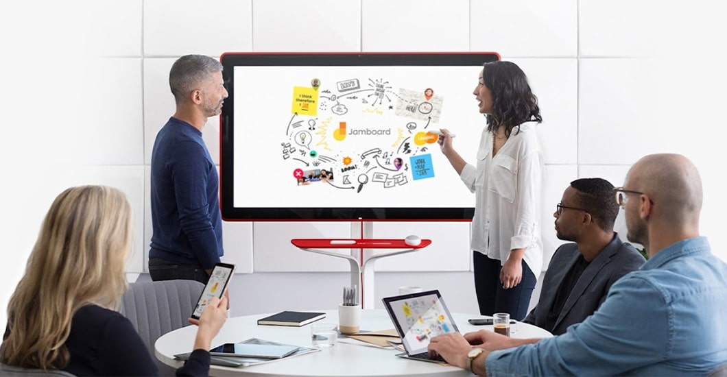 Jamboard is a digital whiteboard where remote teams can collaborate in real-time with notes, drawings and web assets as if they're huddled around a boardroom table together.